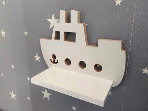 Statek półka drewniana, motyw morski