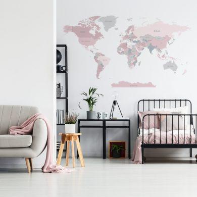 Różowa mapa świata - naklejka na ścianę   myMODULO.pl