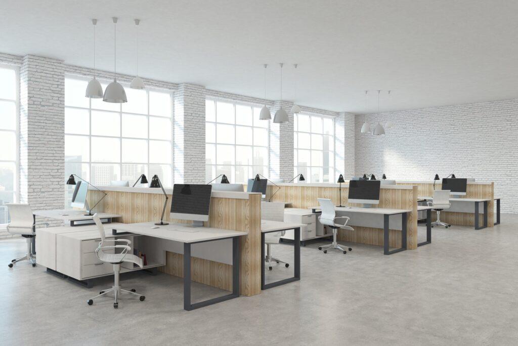 Nowoczesne wnętrze biura coworkingowego w neutralnych kolorach - panele ścienne od myMODULO.pl