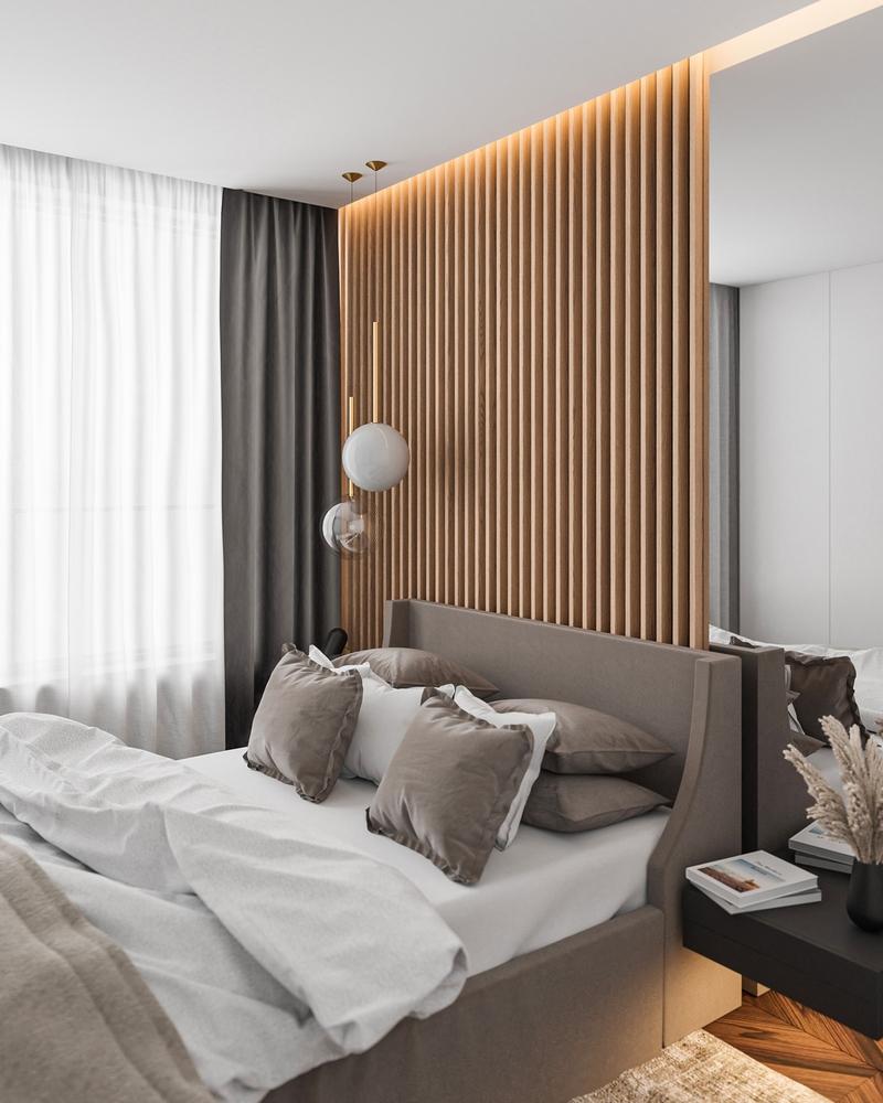 Lamele drewniane w sypialni   myMODULO.pl