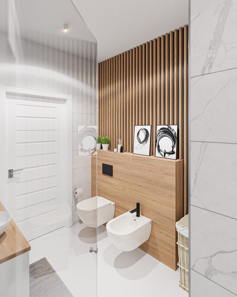 Lamele drewniane w łazience   myMODULO.pl